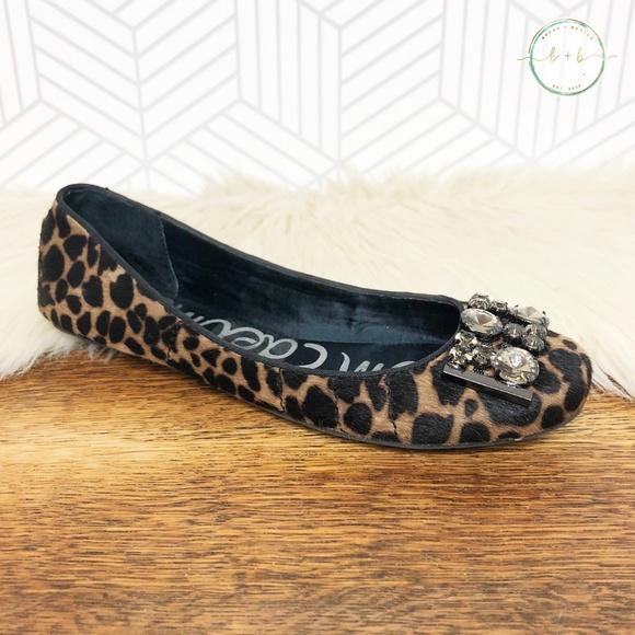 3aa143f2de2dd8 Sam Edelman Caper Leopard Print Pony Hair Flats. M 5bfc3927819e90ddff208de3